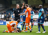 Referee Christopher Sarginson during the Sky Bet League 2 match between Wycombe Wanderers and Blackpool at Adams Park, High Wycombe, England on the 11th March 2017. Photo by Liam McAvoy.