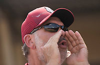 NWA Democrat-Gazette/CHARLIE KAIJO An Arkansas fan boos during the second game of the NCAA super regional baseball, Sunday, June 10, 2018 at Baum Stadium in Fayetteville. Arkansas fell to South Carolina 5-8.