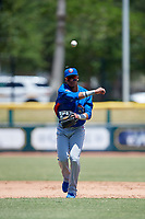 Tennessee Smokies shortstop Luis Vasquez (40) throws to first base during a Southern League game against the Jacksonville Jumbo Shrimp on April 29, 2019 at Baseball Grounds of Jacksonville in Jacksonville, Florida.  Tennessee defeated Jacksonville 4-1.  (Mike Janes/Four Seam Images)