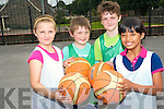 Playing games and learning news skills were the order of the day at Killarney Basketball Camp. <br /> L-R Edel Horgan, Adam O'Sullivan, Ben Switzer and Claire McMahon.