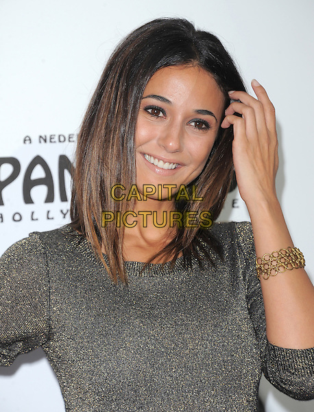 """Emmanuelle Chriqui.""""The Book of Mormon"""" Hollywood Opening night Held At The Pantages theatre, Hollywood, California, USA..September 12th, 2012.headshot portrait silver grey gray hand arm gold bracelet .CAP/DVS.©DVS/Capital Pictures."""