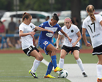 Boston Breakers forward Lianne Sanderson (10) controls the ball as Portland Thorns FC midfielder Meleana Shim (6) and Portland Thorns FC defender Nikki Marshall (7) pressure. In a National Women's Soccer League (NWSL) match, Portland Thorns FC (white/black) defeated Boston Breakers (blue), 2-1, at Dilboy Stadium on July 21, 2013.