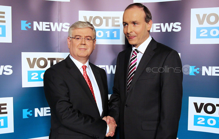 08/02/'11 Fianna Fail leader Micheál Martin and Labour leader, Eamon Gilmore pictured this evening at TV3, Ballymount Dublin where they participated in the first televised leader's debate of Election 2011...Picture Colin Keegan, Collins, Dublin.