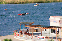 Boating fun on the Colorado River in front of the Blue Water Resort & Casino near Parker, Arizona across from the California shore.