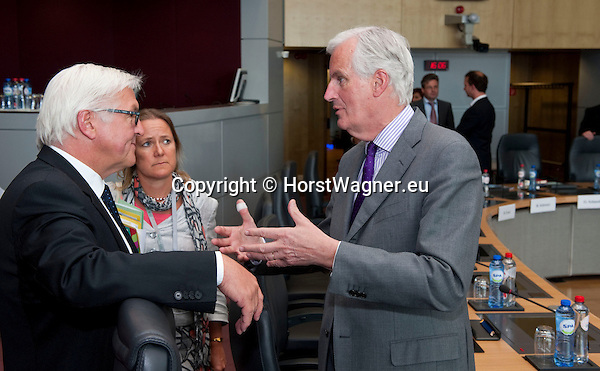 Brussels - Belgium, June 05, 2012 -- MdB Frank-Walter STEINMEIER (le), chairman of the SPD's parliamentary group in the Bundestag (German Parliament), for political talks in Brussels; here, with Michel BARNIER (ri), European Commissioner in charge of Internal Market and Services -- Photo: © HorstWagner.eu