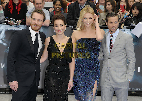 Michael Fassbender, Noomi Rapace, Charlize Theron & Logan Marshall-Green.'Prometheus' world film premiere, Empire cinema, Leicester Square, London, England..31st May 2012.half length blue strapless shimmery dress sparkly sheer slit split black grey gray suit beard facial hair hand arm.CAP/CAN.©Can Nguyen/Capital Pictures.