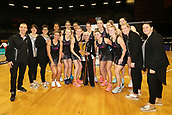 13th September 2017, Hamilton, New Zealand;  The Silver Ferns, Taini Jamison(M), and support staff pose for a team photo after winning the Taini Jamison Trophy. Taini Jamison Trophy international netball match - Silver Ferns versus  England played at Claudelands Arena, Hamilton, New Zealand on Wednesday 13 September 2017