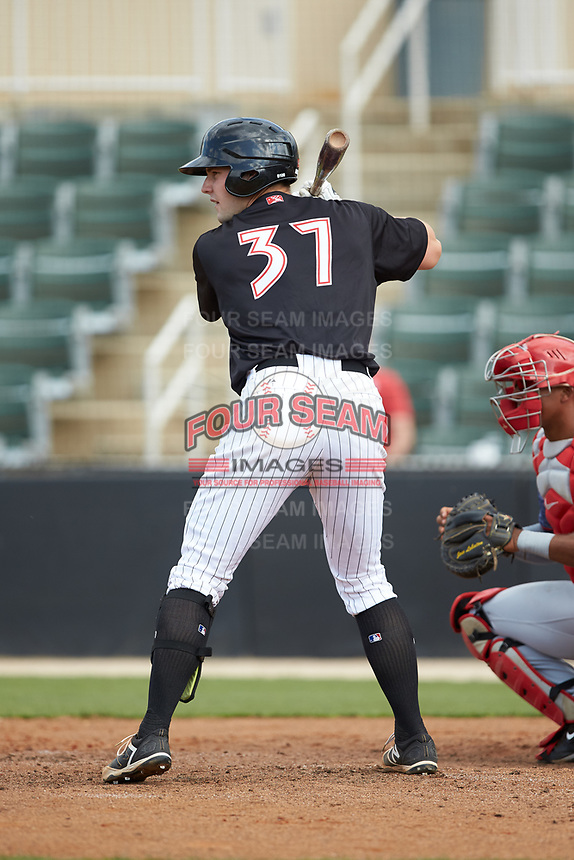 Anthony Villa (37) of the Kannapolis Intimidators at bat against the Hagerstown Suns at Kannapolis Intimidators Stadium on May 6, 2018 in Kannapolis, North Carolina. The Intimidators defeated the Suns 4-3. (Brian Westerholt/Four Seam Images)