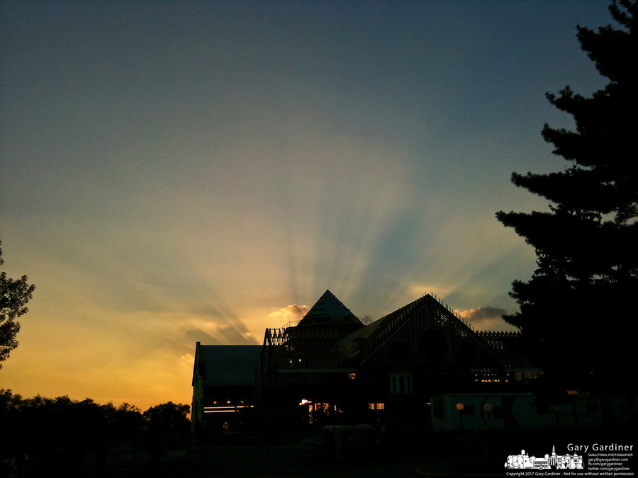 Sunset behind St. Paul Church construction in Westerville, OH