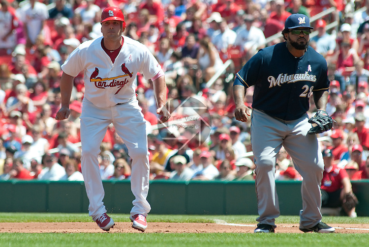 08 May 2011                              St. Louis Cardinals left fielder Matt Holliday (7) takes a leadoff after reaching base by singling to center in the second inning.  At right is Milwaukee Brewers first baseman Prince Fielder (28). The St. Louis Cardinals defeated the Milwaukee Brewers 3-1 on Sunday May 8, 2011 in the final game of a three-game series at Busch Stadium in downtown St. Louis.