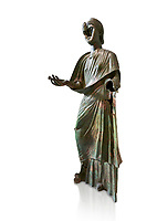 Bronze statue of Roman empress Julia Aquilia Severa found at Sparta. circa 221-222 AD.  Athens National Archaeological Museum, Cat No X23321. Against white.<br /> <br /> The women in the Bronze statue wears a Chiton and himation and would have had a crwon on her head. The hair style is typical of the Severan dynisty. Julia Aquilia was the last wife of emperor Elagobalus (218-222 AD) and the damage to the statue is due to a building collapsing on it after a fire circa 221-222 AD
