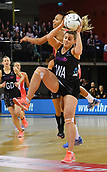 7th September 2017, Te Rauparaha Arena, Wellington, New Zealand; Taini Jamison Netball Trophy; New Zealand versus England;  Silver Ferns Gina Crampton (Front) takes a pass as Englands Geva Mentor tries to intercept
