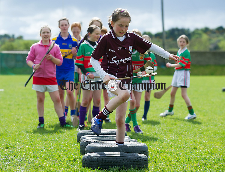 Tulla's Niamh O Brien on the obstacle course during the camogie and hurling Easter camp at Tulla GAA field. Photograph by John Kelly.