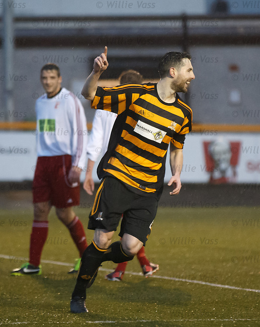 Ben Gordon celebrates his goal for Alloa Athletic