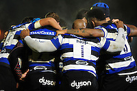 The Bath Rugby team huddle together during a break in play. Anglo-Welsh Cup match, between Bath Rugby and Leicester Tigers on November 4, 2016 at the Recreation Ground in Bath, England. Photo by: Patrick Khachfe / Onside Images