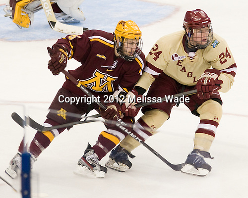 Jake Parenteau (Minnesota - 6), Bill Arnold (BC - 24) - The Boston College Eagles defeated the University of Minnesota Golden Gophers 6-1 in their 2012 Frozen Four semi-final on Thursday, April 5, 2012, at the Tampa Bay Times Forum in Tampa, Florida.
