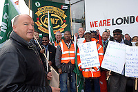 The RMT Trade Union holds a demonstration at the London County Hall where Mayor Ken Livingston is based. The RMT general secretary Bob Crow handed a letter to the office of the mayor demanding his support for 209 underground cleaners who face redundancy by employers ISS and Tubelines. The RMT are also demanding a living wage for the cleaners of £7.05 an hour.