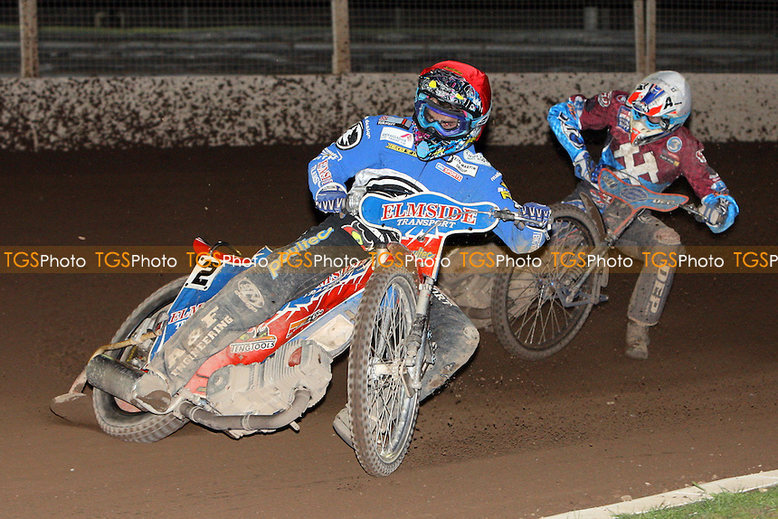 Heat 12: Allen (red) and Nieminen - Ipswich Witches vs Lakeside Hammers - Sky Sports Elite League Speedway at Foxhall Stadium - 13/05/10 - MANDATORY CREDIT: Gavin Ellis/TGSPHOTO - Self billing applies where appropriate - Tel: 0845 094 6026