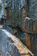 The wall of Flume Gorge in Franconia Notch State Park in Lincoln, New Hampshire USA during the spring months. Flume Brook travels through this gorge.