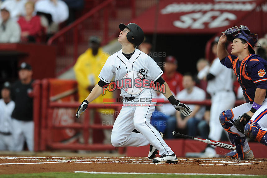Left Fielder Tanner English #3 of the South Carolina Gamecocks swings at a pitch during a game against the South Carolina Gamecocks at Carolina Stadium on March 3, 2012 in Columbia, South Carolina. The Gamecocks defeated the Tigers 9-6. Tony Farlow/Four Seam Images