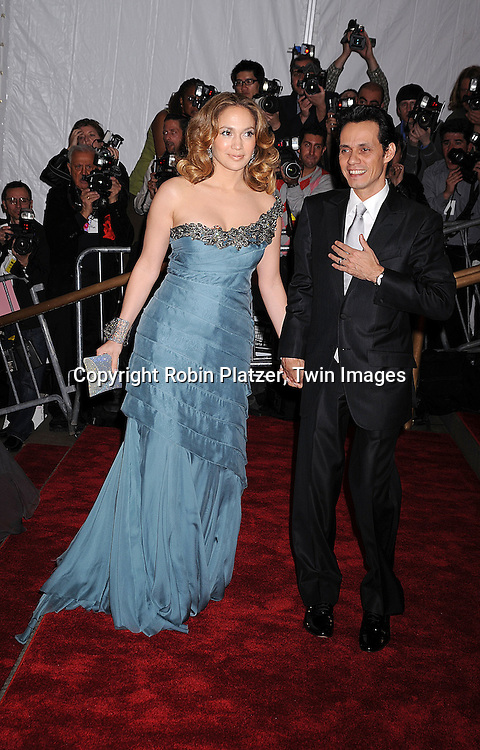 """Jennifer Lopez and husband Marc Anthony.arriving at The Costume Institute Gala of The Metropolitan Museum of Art on May 5, 2008. The costume exhibit was .""""Superheroies: Fashion and Fantasy...Robin Platzer, Twin Images"""