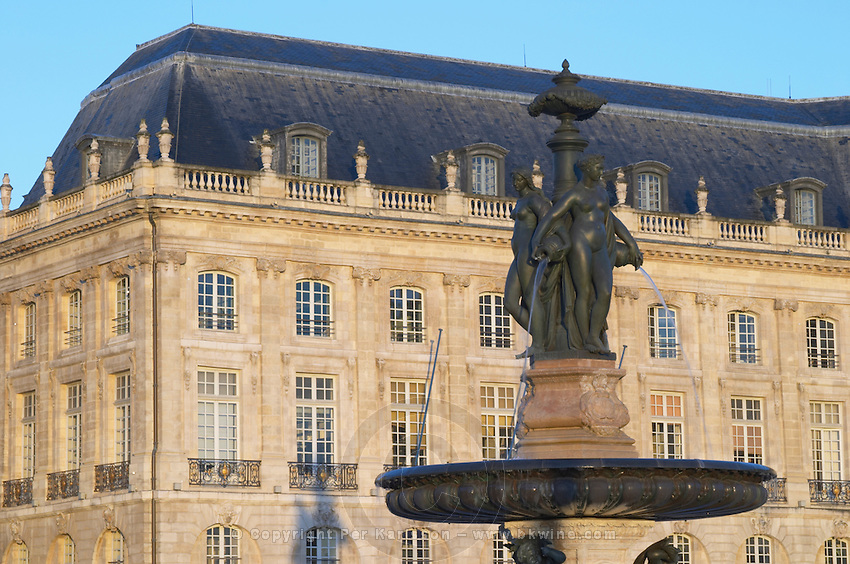 Place de la Bourse. Three Graces fountain. Bordeaux city, Aquitaine, Gironde, France