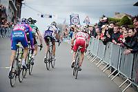 Liege-Bastogne-Liege 2012.98th edition..Jelle Vanendert leading a small group up Saint-Nicolas