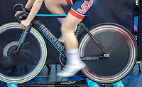 25th January 2020; National Cycling Centre, Manchester, Lancashire, England; HSBC British Cycling Track Championships; A rider warms up in preparation for her race at the national track championships
