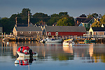 Boathouses on the waterfront of Portsmouth, Seacoast Region, NH, USA