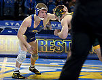 BROOKINGS, SD - FEBRUARY 11: Garrett Jordan from South Dakota State University battles with Jared Franek from North Dakota State University during their 157 pound match Friday night at Frost Arena in Brookings, SD. (Photo by Dave Eggen/Inertia)