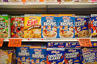 Boxes of Kellogg's breakfast cereals in a supermarket in New York on Tuesday, June 19, 2012.  (© Richard B. Levine)