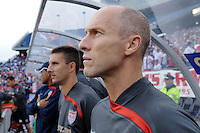 United States (USA) head coach Bob Bradley before the start of the game. The United States and Haiti played to a 2-2 tie during a CONCACAF Gold Cup Group B group stage match at Gillette Stadium in Foxborough, MA, on July 11, 2009. .