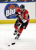 February 22nd 2008:  Denis Hamel (17) of the Binghamton Senators skates up ice during a game vs. the Rochester Amerks at Blue Cross Arena at the War Memorial in Rochester, NY.  The Senators defeated the Amerks 4-0.   Photo copyright Mike Janes Photography