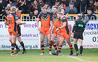Picture by Allan McKenzie/SWpix.com - 11/03/2018 - Rugby League - Betfred Super League - Castleford Tigers v Salford Red Devils - the Mend A Hose Jungle, Castleford, England - Castleford celebrate James Clare's try against Salford.