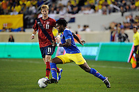 Gabriel Achilier (18) of Ecuador. The men's national team of the United States (USA) was defeated by Ecuador (ECU) 1-0 during an international friendly at Red Bull Arena in Harrison, NJ, on October 11, 2011.