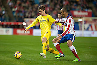Atletico de Madrid´s Joao Miranda and Villarreal´s Luciano Dario Vietto during 2014-15 La Liga match between Atletico de Madrid and Villarreal at Vicente Calderon stadium in Madrid, Spain. December 14, 2014. (ALTERPHOTOS/Luis Fernandez) /NortePhoto
