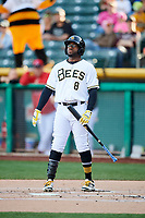 Eric Young Jr. (8) of the Salt Lake Bees at bat against the El Paso Chihuahuas in Pacific Coast League action at Smith's Ballpark on May 1, 2017 in Salt Lake City, Utah.  Salt Lake defeated El Paso 9-4. (Stephen Smith/Four Seam Images)