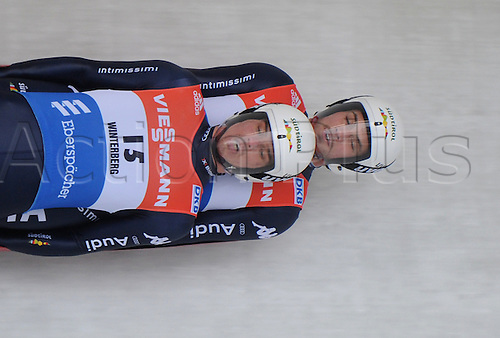 20.02.2016. Winterberg, Germany.  Ludwig Rieder (front) and Patrick Rastner (back)of Italy finish sixth in the men's two-seater event at the Luge World Cup in Winterberg, Germany, 20 February 2016.