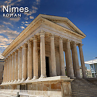 Pictures of Roman Nimes Temple Amphitheatre & Aqueduct - France -