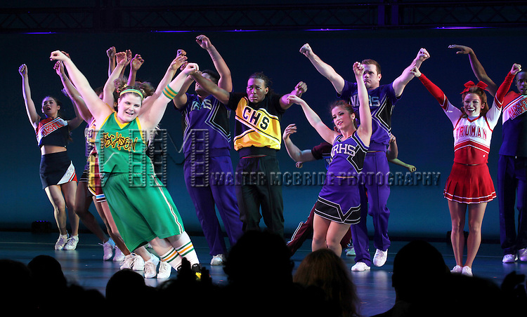 Ensemble Cast during the Broadway Opening Night Performance Curtain Call for  'Bring it On The Musical' at the St. James Theatre in New York City on 8/1/2012