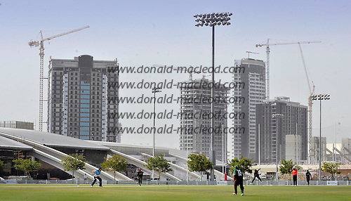 T20 World Cup Qualifying match - Scotland V Kenya at ICC Global Cricket Academy - Dubai - against a backdrop of the building site that Dubai appears to be Scotland's Kyle Coetzer awaits a delivery - Scotland claimed a 14 run victory in the game - Picture by Donald MacLeod  13.3.12  07702 319 738  clanmacleod@btinternet.com