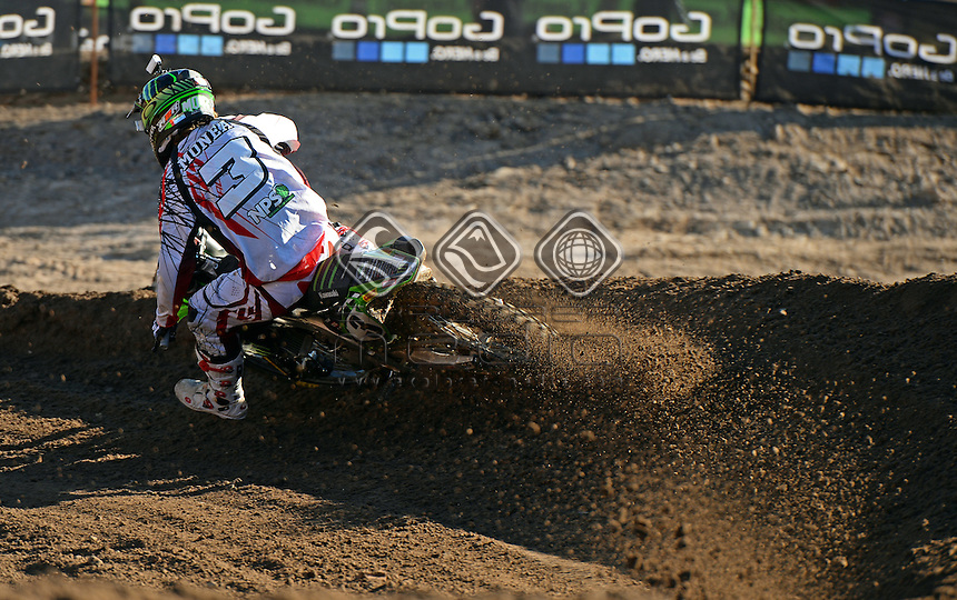 Adam Monea / Kawasaki<br /> MX Nationals / Round 6 / MX1<br /> Australian Motocross Championships<br /> Raymond Terrace NSW<br /> Sunday 5 July 2015<br /> &copy; Sport the library / Jeff Crow