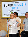 June 1st, 2011, Tokyo, Japan - Keiichi Inamine, former Okinawa governor, sports a traditional Okinawan shirt during a Super Cool Biz fashion show at a Tokyo department store on Wednesday, June 1, 2011. The show was sponsored by the Environment Ministry in its campaign, encouraging the Japans white-collar workforce to shed off their business suits and ties for more casual and laidback clothes - a de facto summer dress code. The office thermostat throughout the country will be set at a steamy 28 degrees Celsius due to a government decree to cut electricity usage by 15% thanks to the crippled nuclear power plant.(Photo by Natsuki Sakai/AFLO) [3615] -mis-.