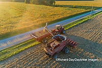 63801-12502 Harvesting corn and unloading into grain cart in fall-aerial  Marion Co. IL