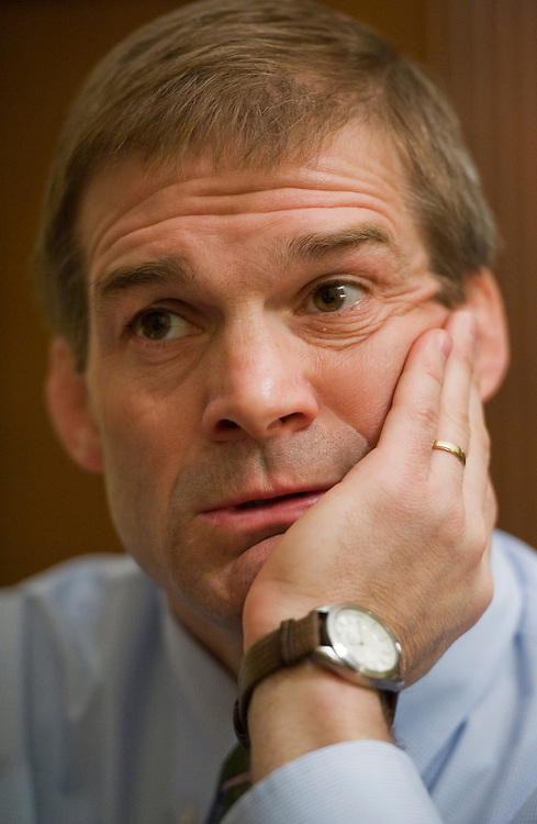 UNITED STATES - APRIL 08:  Rep. Jim Jordan, R-Ohio, is interviewed by Roll Call in his Longworth Building office. (Photo By Tom Williams/Roll Call)