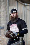 POWAY, CA - JULY 16:  Eric Weddle of the San Diego Chargers walks out to the field for his team the &quot;Valley Farm League&quot;  during their semi-final game in the Regular Joe League at the Poway Sportsplex Softball Field on July 16, 2014 in Poway, California. (CREDIT: Donald Miralle for the Wall Street Journal) <br /> chargers