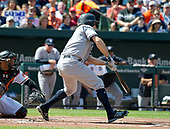 New York Yankees left fielder Brett Gardner (11) grounds out in the first inning against the Baltimore Orioles at Oriole Park at Camden Yards in Baltimore, MD on Monday, September 4, 2017.<br /> Credit: Ron Sachs / CNP<br /> (RESTRICTION: NO New York or New Jersey Newspapers or newspapers within a 75 mile radius of New York City)