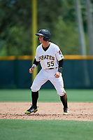 GCL Pirates pinch hitter Matt Morrow (55) leads off second base during a game against the GCL Tigers West on August 13, 2018 at Pirate City Complex in Bradenton, Florida.  GCL Tigers West defeated GCL Pirates 5-1.  (Mike Janes/Four Seam Images)