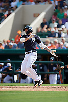 Detroit Tigers right fielder Nicholas Castellanos (9) lines out during a Grapefruit League Spring Training game against the New York Yankees on February 27, 2019 at Publix Field at Joker Marchant Stadium in Lakeland, Florida.  Yankees defeated the Tigers 10-4 as the game was called after the sixth inning due to rain.  (Mike Janes/Four Seam Images)