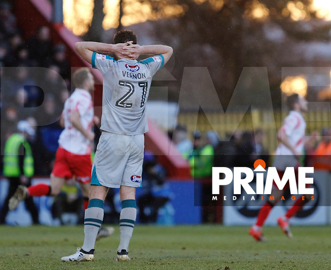 Grimsby's Scott Vernon can't hide his dismay as Stevenage's Jobi McAnuff makes it 2-0 during the Sky Bet League 2 match between Stevenage and Grimsby Town at the Lamex Stadium, Stevenage, England on 28 January 2017. Photo by Carlton Myrie / PRiME Media Images.